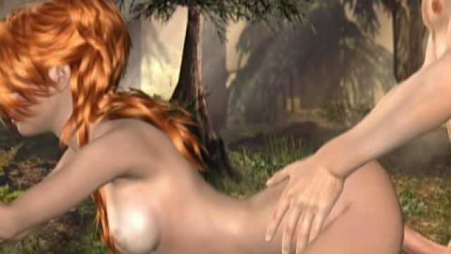 Flamy Crimson Haired Three-d Gf Molly Getting Cock-squeezing Vag Plumbed Within The Woods