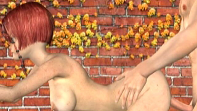 Obscene Redheaded 3-d Gf With Massive Bosoms Misty Will Get Screwed Rear End On The Wall