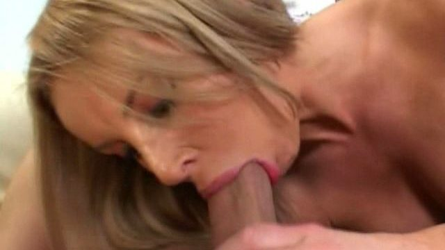 Sandy Light-haired Cougar Laura Monroe Licking A Yam-sized Man Rod With Enthusiasm