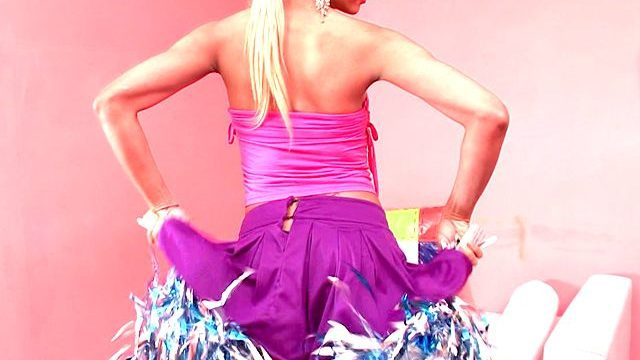 Succulent Platinum-blonde Tranny Cheerleader Itiel Dancing And Flashing Body Upskirt