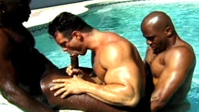 2 Insatiable And Muscle Bodied Dark-hued Homosexuals Boinking A Milky Boy Within The Pool