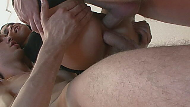 Extremely Super-sexy Dark Haired Hottie Getting Dual Pulverized By Means Of 2 Kinky Folks