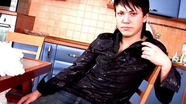 Thrilled Dark-haired Fag Paul Unclothing Erotically For You Within The Kichen