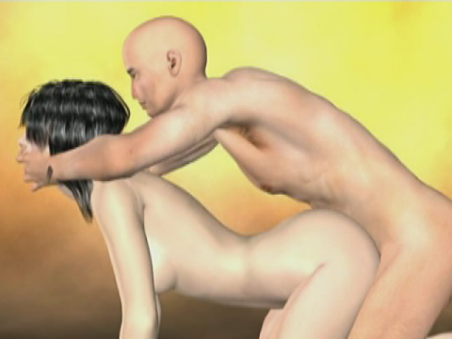 Raven Haired 3-d Gf Getting Nailed Doggystyle Via Her Shaved Bf