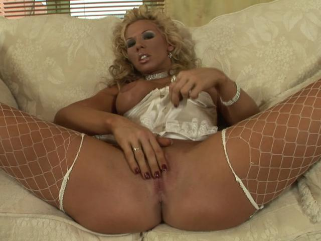 Huge-titted Blondie Czech Babe In Fishnets Fondling Her Raw Slit