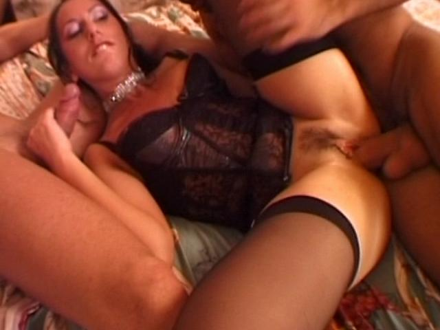 Impossible To Resist Black-haired Wifey In Tights Getting Dual Bashed In Bed Room