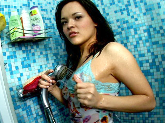 Huge-titted Dark-haired Nubile Angel Abigail Washing Her Outstanding Figure Within The Douche