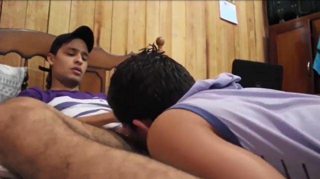 Homosexual Brazilian Boy Deepthroating Bisexual Latino